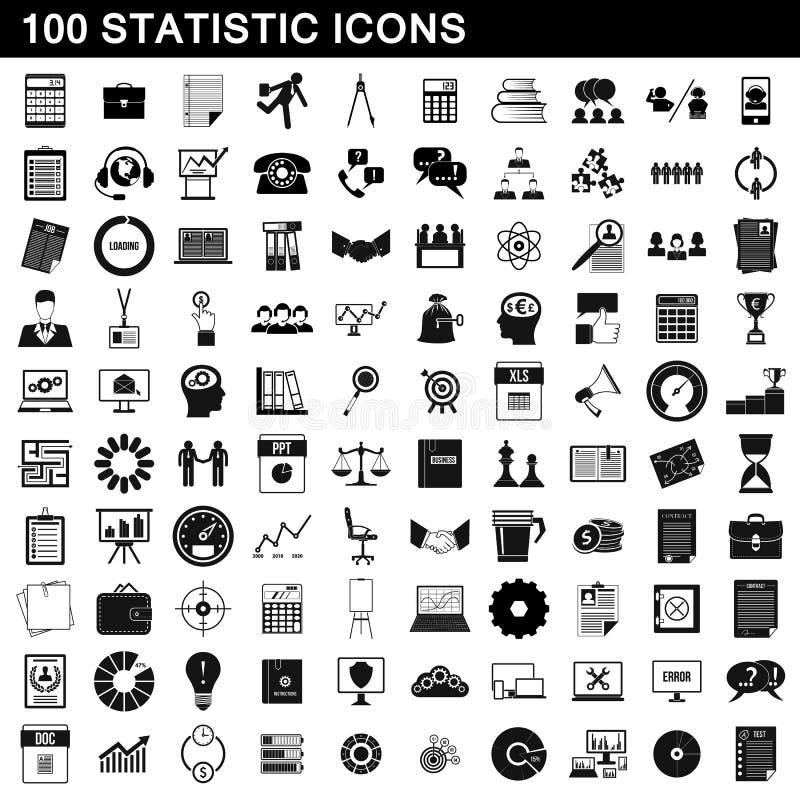 100 iconos fijados, estilo simple de la estadística ilustración del vector