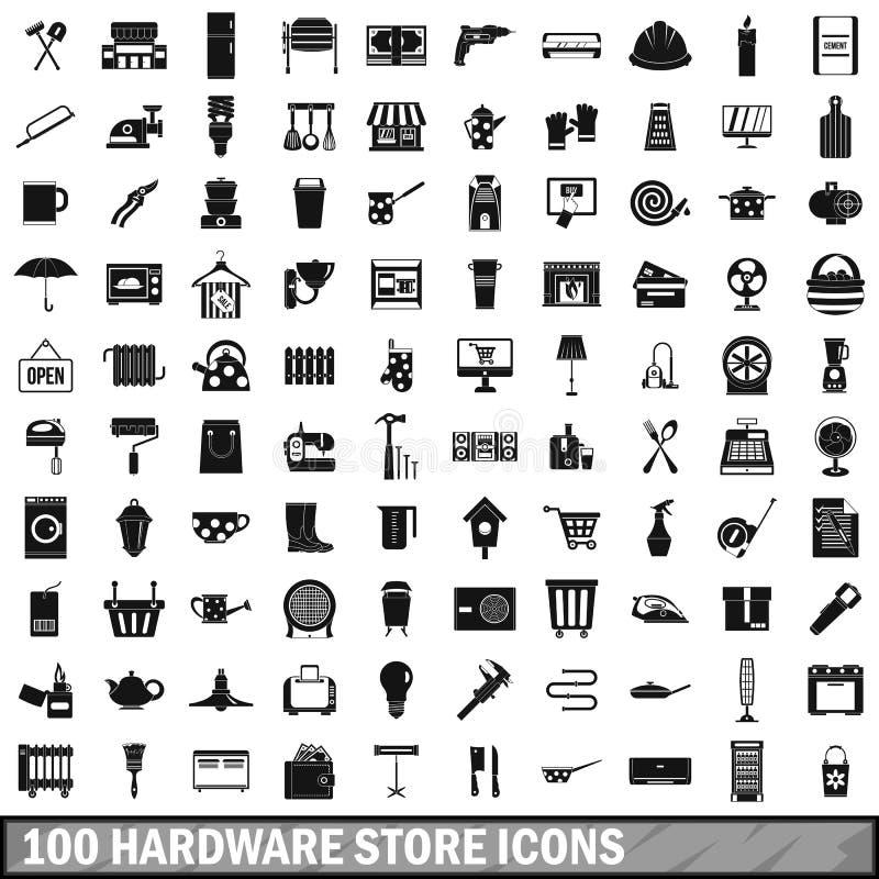 100 iconos fijados, estilo simple de la ferretería ilustración del vector
