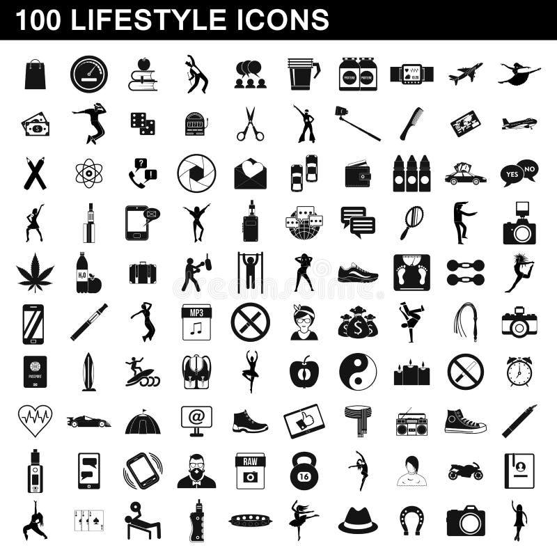 100 iconos fijados, estilo simple de la forma de vida stock de ilustración