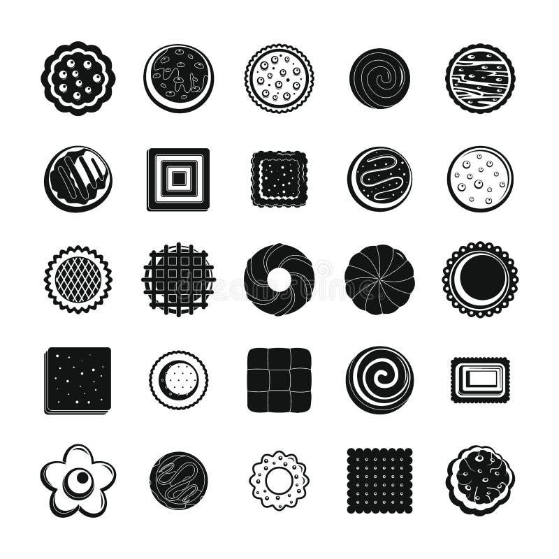 Iconos fijados, estilo simple de la galleta de las galletas stock de ilustración