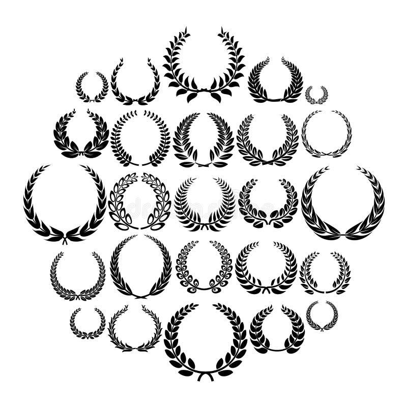 Iconos fijados, estilo simple de la guirnalda del laurel ilustración del vector