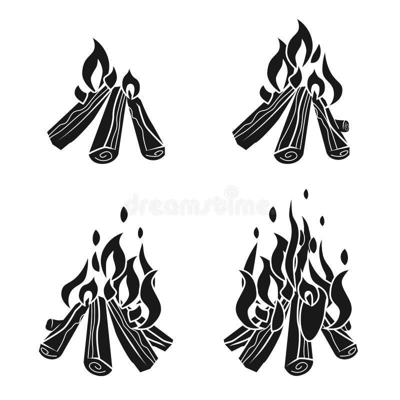 Iconos fijados, estilo simple de la hoguera stock de ilustración