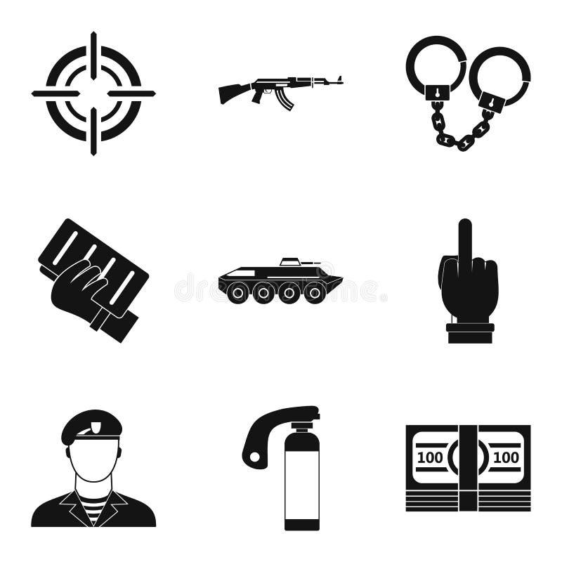 Iconos fijados, estilo simple de la hostilidad stock de ilustración
