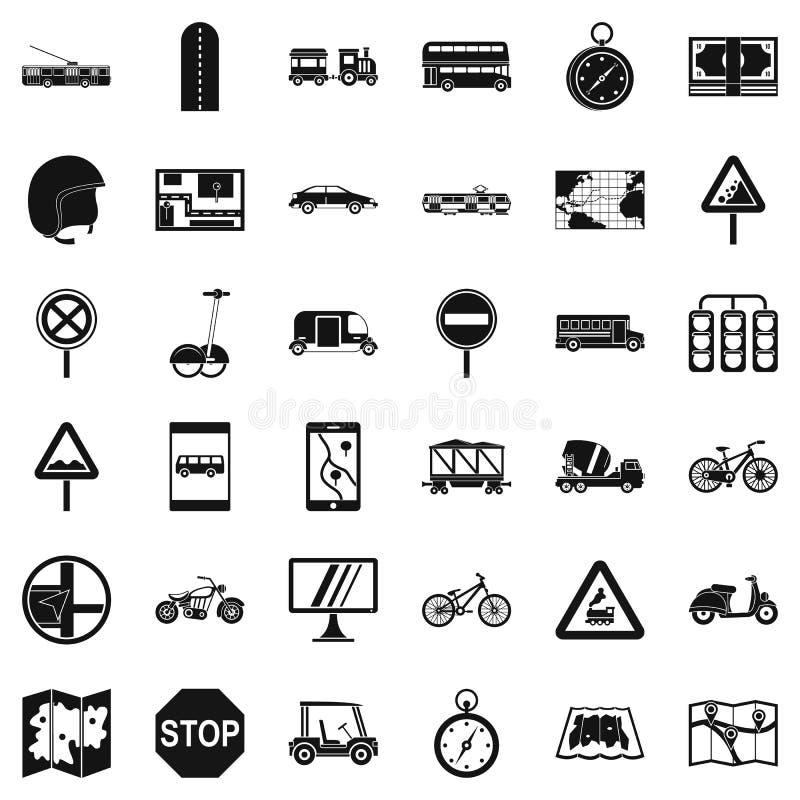 Iconos fijados, estilo simple de la marca de ubicación stock de ilustración