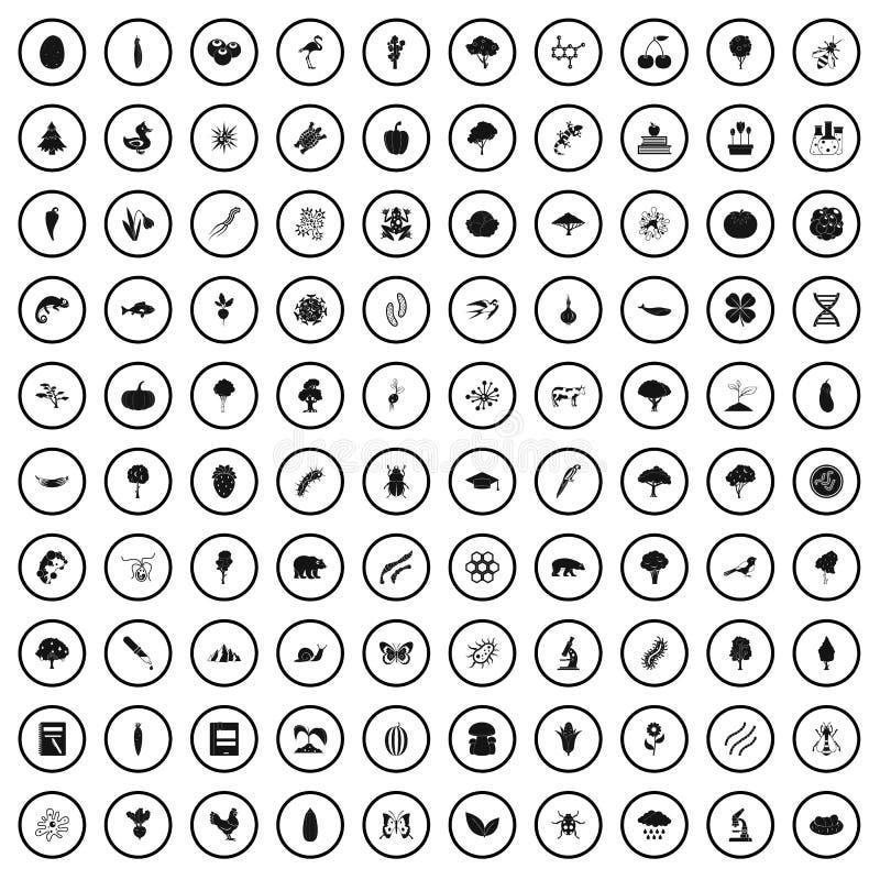 100 iconos fijados, estilo simple de la microbiología libre illustration