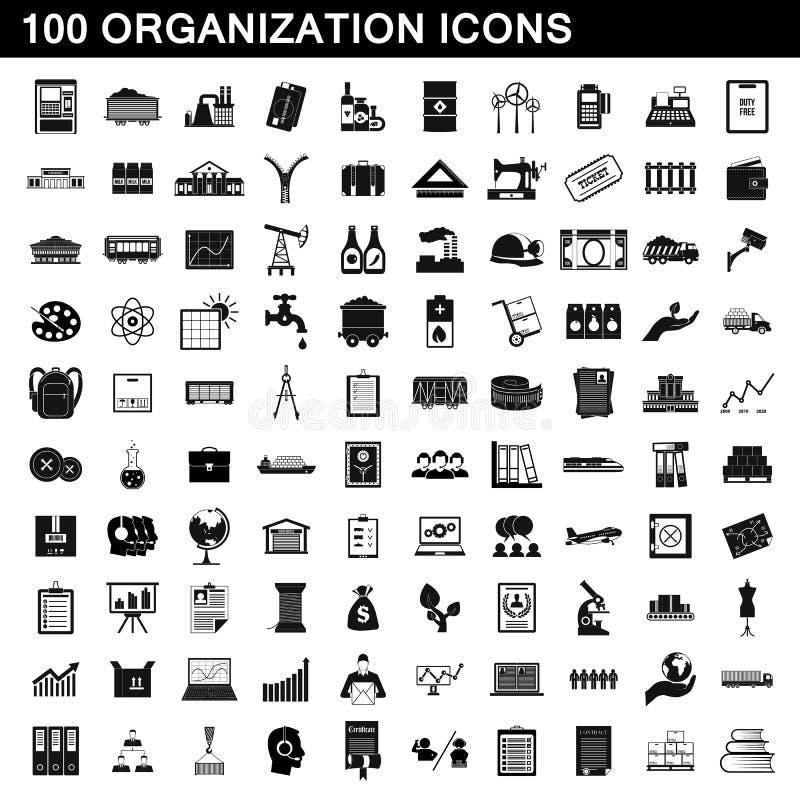 100 iconos fijados, estilo simple de la organización stock de ilustración