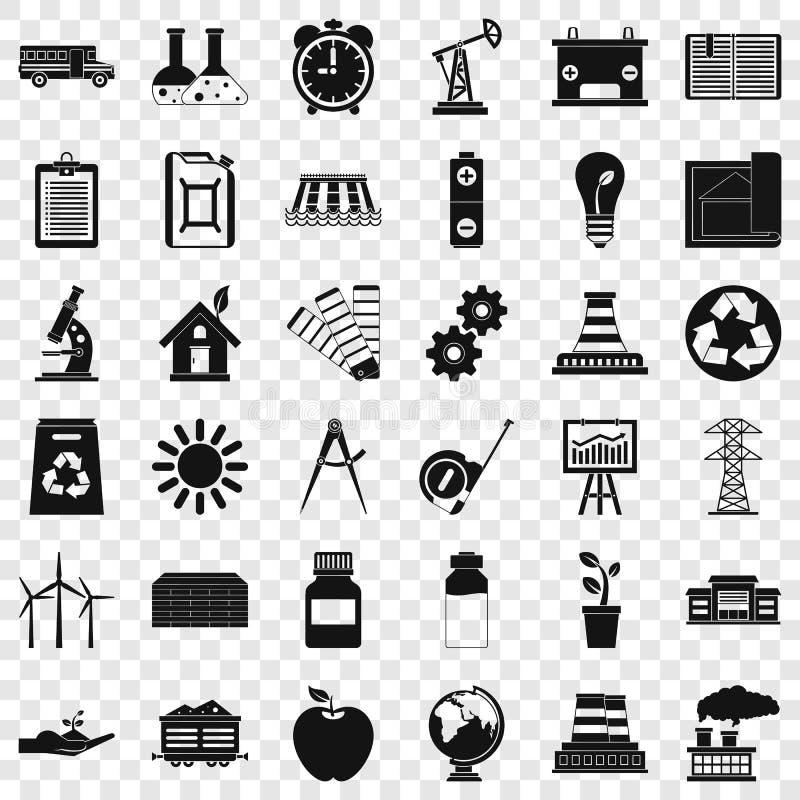 Iconos fijados, estilo simple de la organización stock de ilustración