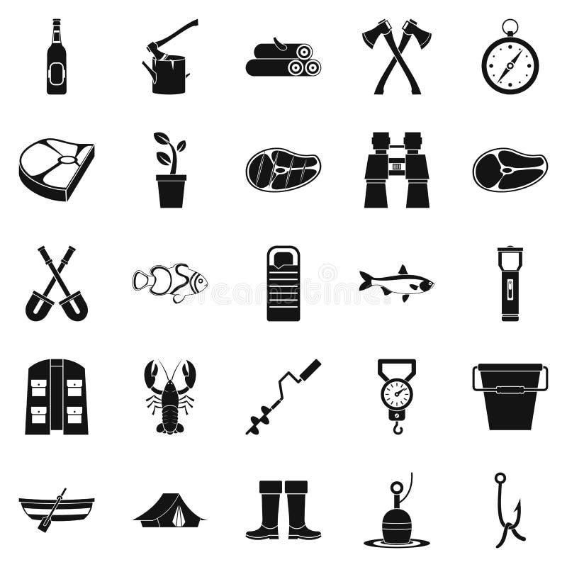 Iconos fijados, estilo simple de la pesca del invierno ilustración del vector