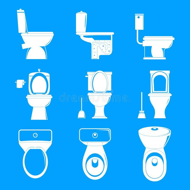Iconos fijados, estilo simple de la taza del inodoro ilustración del vector