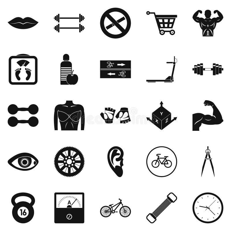 Iconos fijados, estilo simple de las pesas de gimnasia ilustración del vector