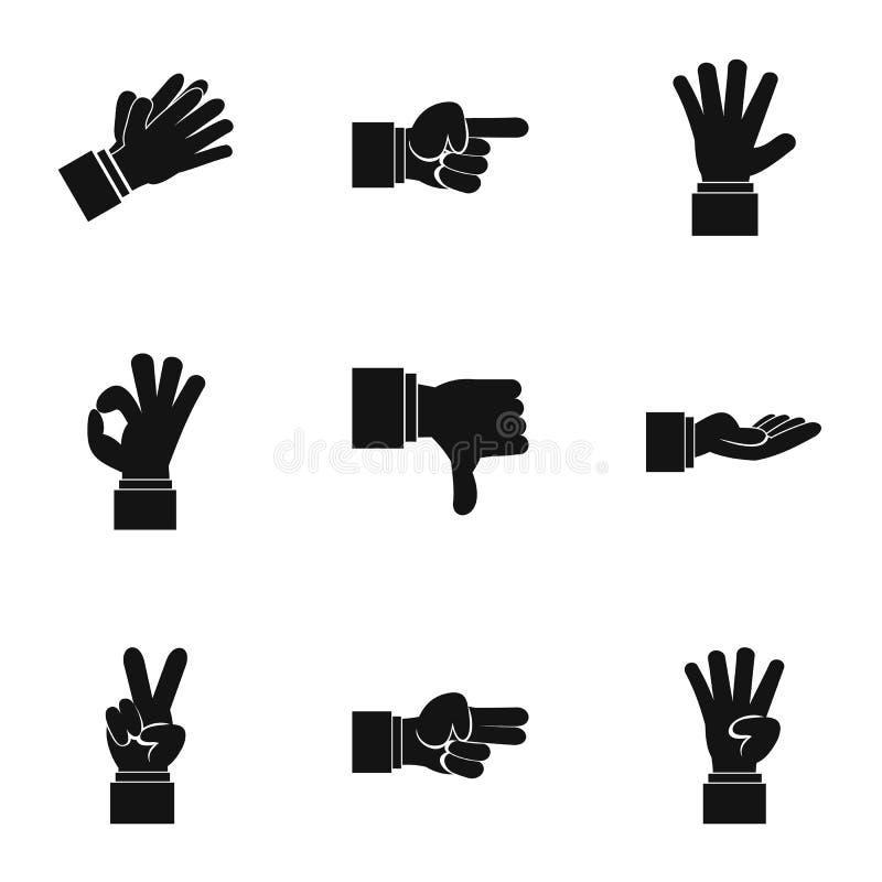 Iconos fijados, estilo simple de los gestos de la comunicación ilustración del vector