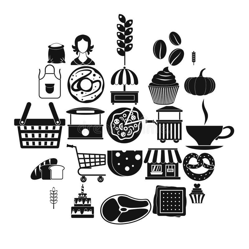Iconos fijados, estilo simple del bocado de la tarde stock de ilustración