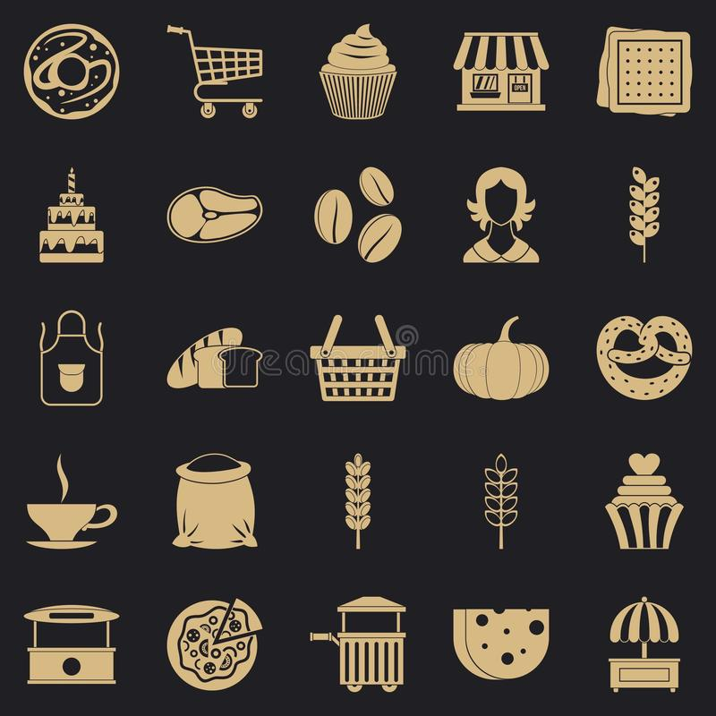 Iconos fijados, estilo simple del bocado de la tarde ilustración del vector