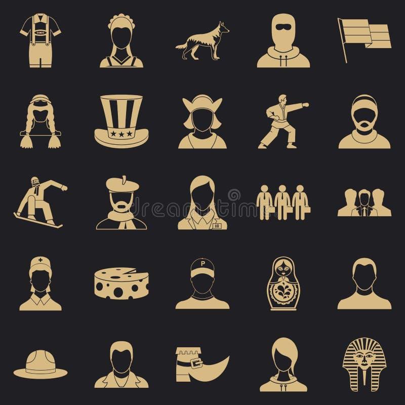 Iconos fijados, estilo simple del ciudadano ilustración del vector