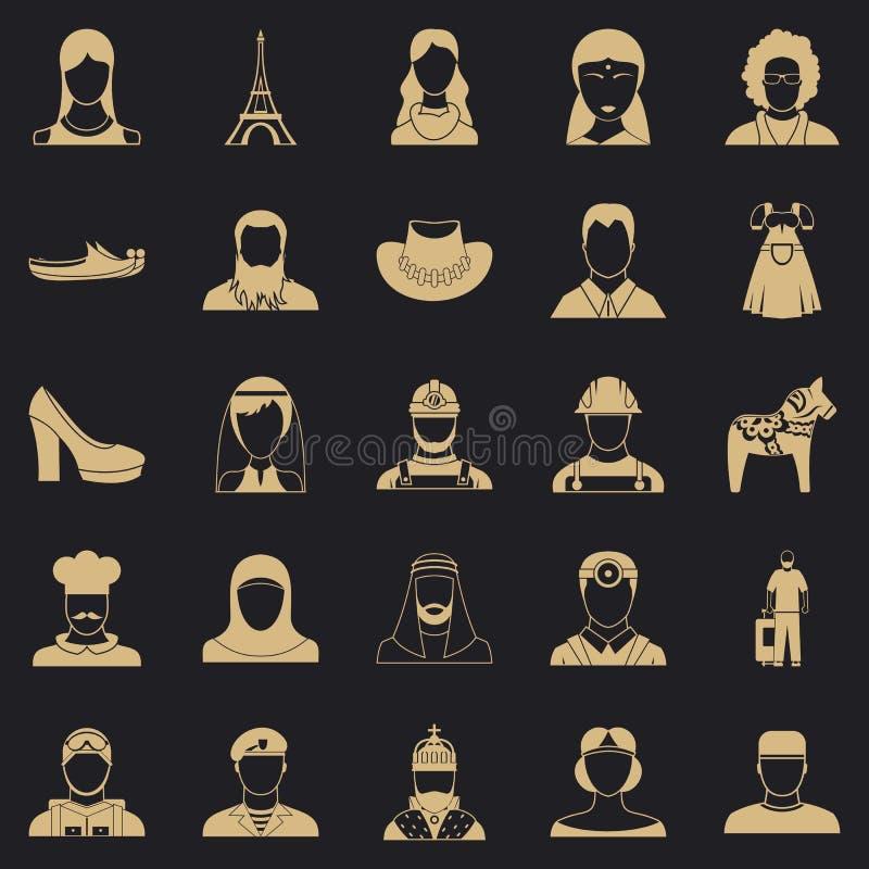 Iconos fijados, estilo simple del ciudadano stock de ilustración
