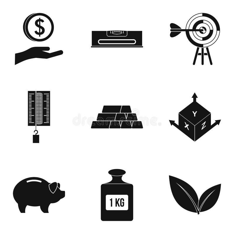 Iconos fijados, estilo simple del contrapeso stock de ilustración