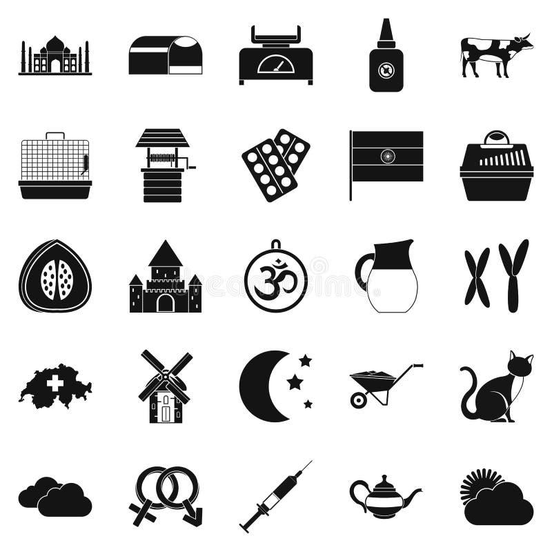 Iconos fijados, estilo simple del cultivo arable stock de ilustración