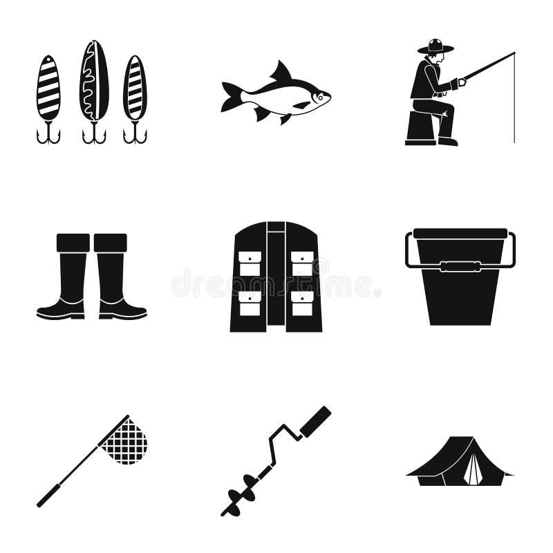 Iconos fijados, estilo simple del deporte de la pesca stock de ilustración