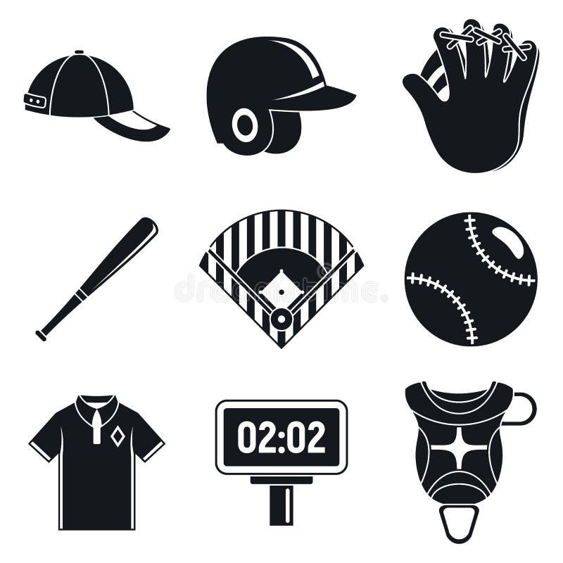 Iconos fijados, estilo simple del equipo de b?isbol ilustración del vector