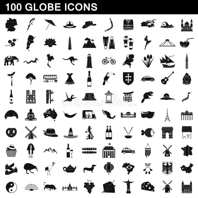 100 iconos fijados, estilo simple del globo libre illustration