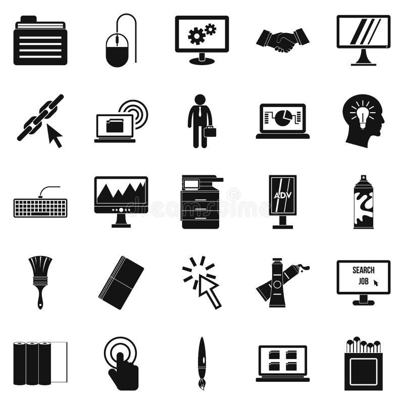 Iconos fijados, estilo simple del informático stock de ilustración