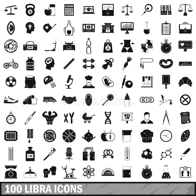 100 iconos fijados, estilo simple del libra stock de ilustración
