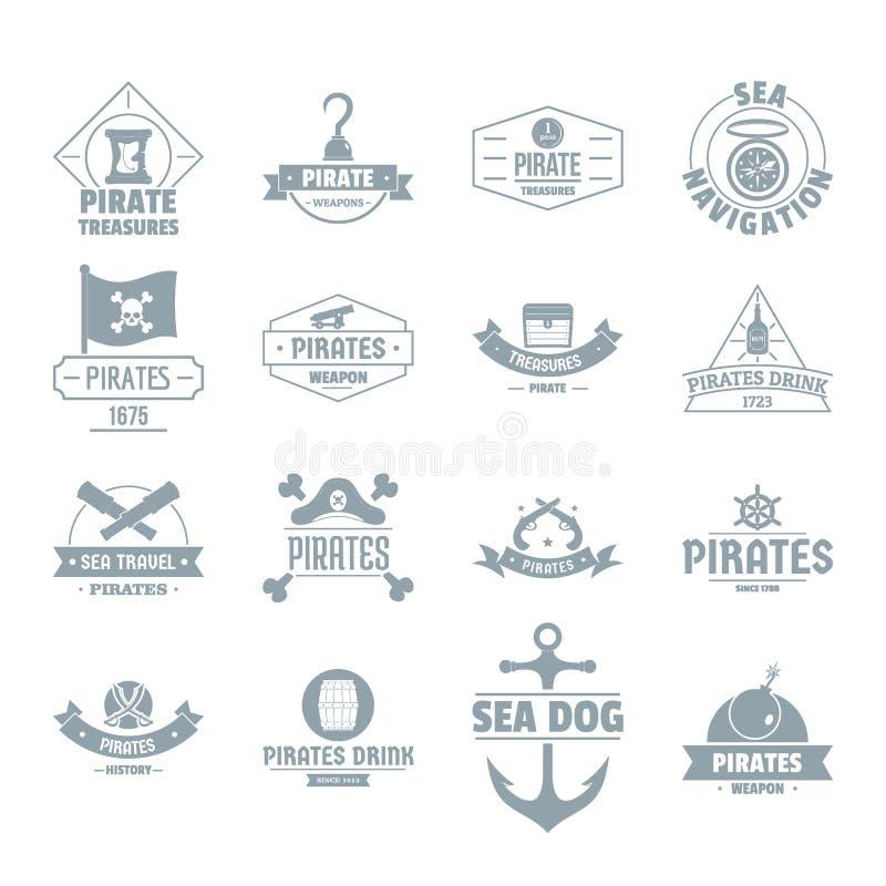 Iconos fijados, estilo simple del logotipo del pirata stock de ilustración