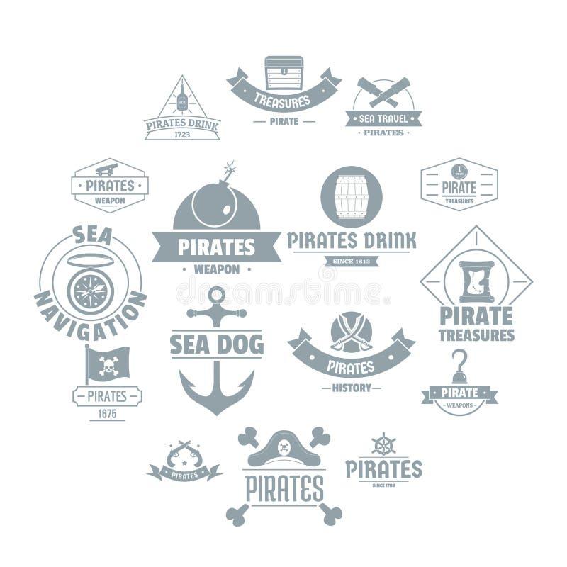 Iconos fijados, estilo simple del logotipo del pirata ilustración del vector