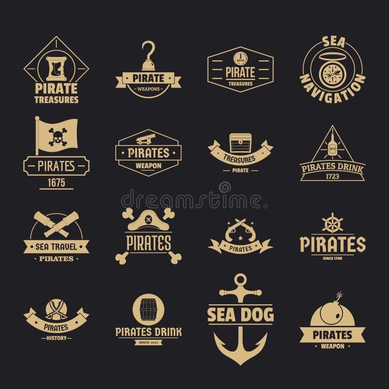 Iconos fijados, estilo simple del logotipo del pirata libre illustration