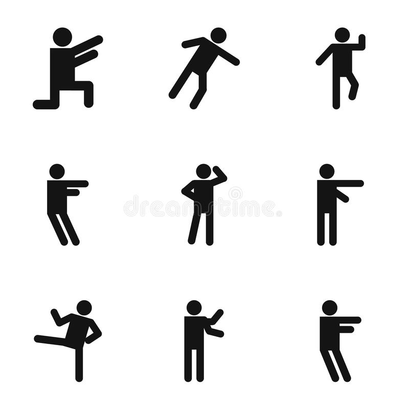 Iconos fijados, estilo simple del movimiento ilustración del vector