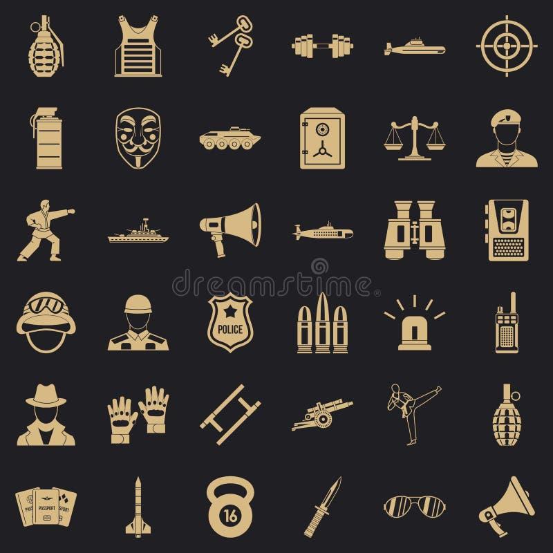 Iconos fijados, estilo simple del oficial de la milicia libre illustration