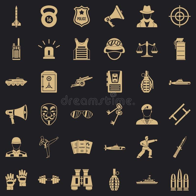 Iconos fijados, estilo simple del oficial de polic?a ilustración del vector