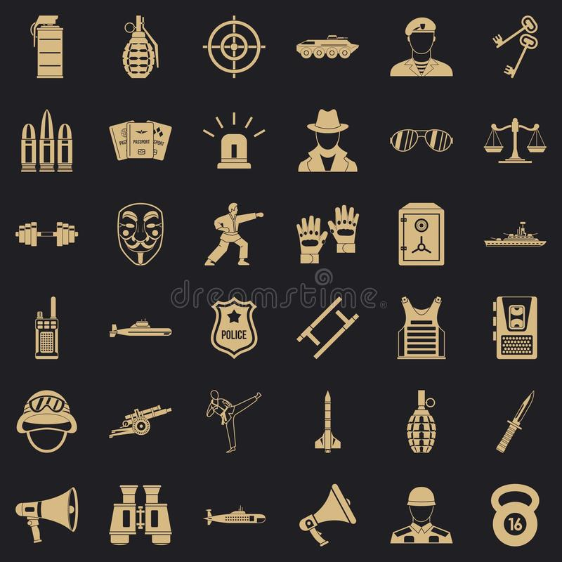 Iconos fijados, estilo simple del oficial stock de ilustración