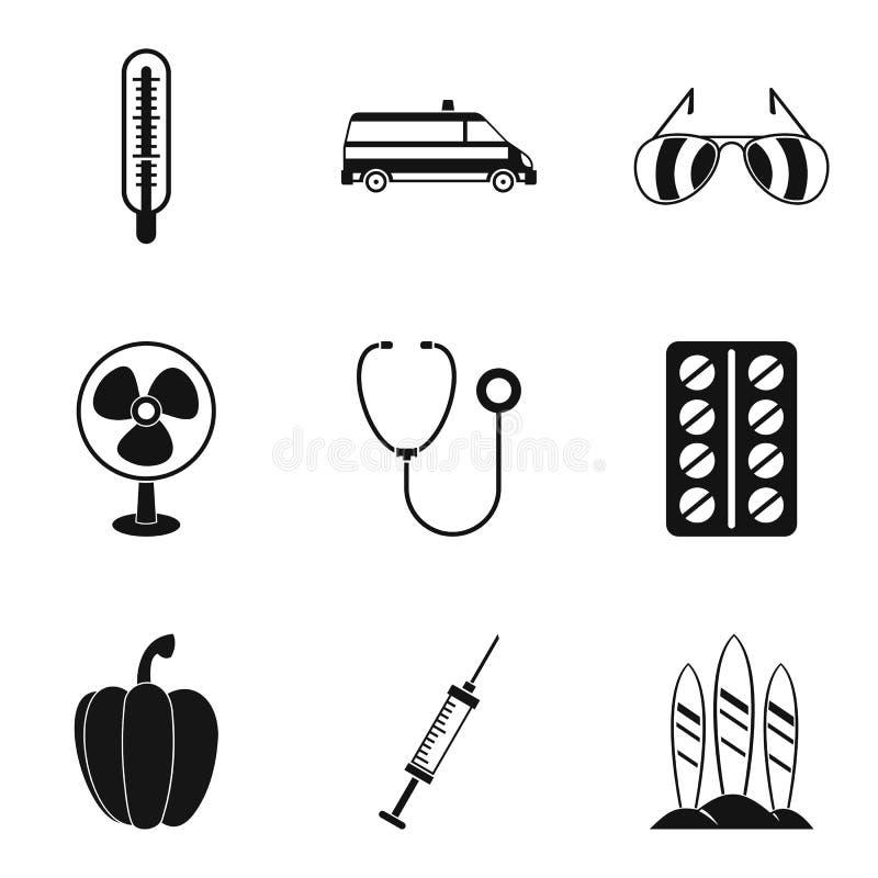 Iconos fijados, estilo simple del organismo stock de ilustración