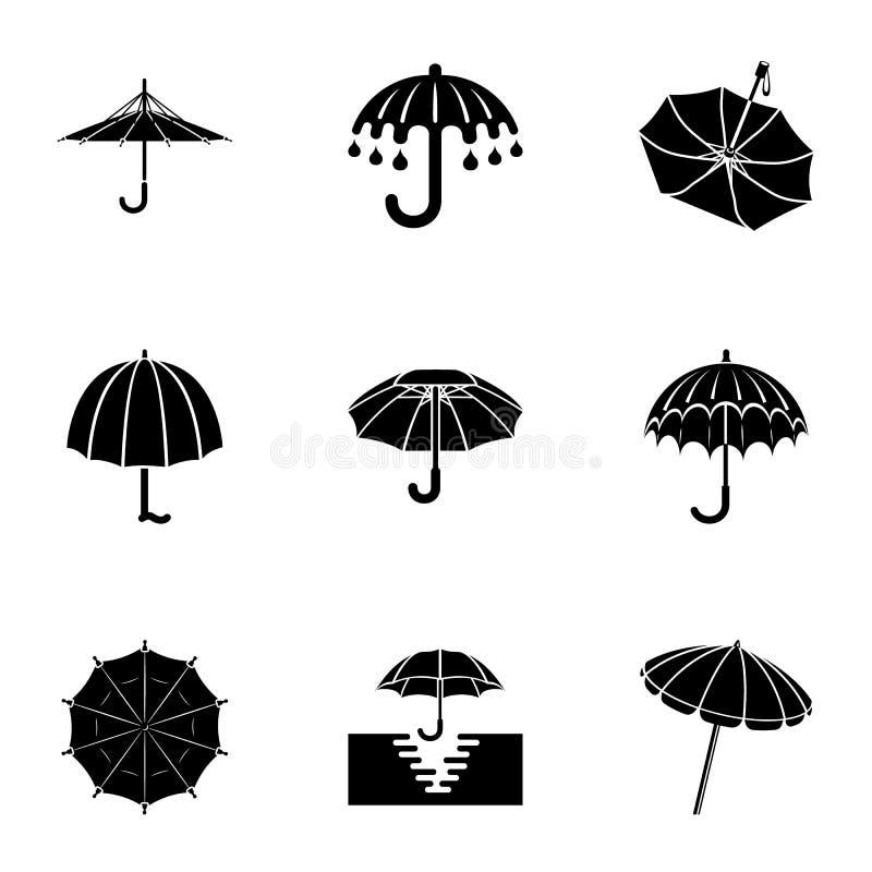 Iconos fijados, estilo simple del paraguas ilustración del vector