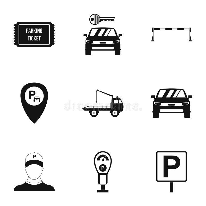 Iconos fijados, estilo simple del parking con aparcacoches stock de ilustración