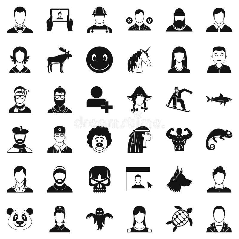 Iconos fijados, estilo simple del perfil ilustración del vector