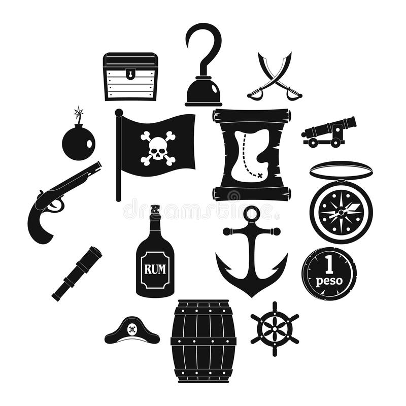 Iconos fijados, estilo simple del pirata stock de ilustración