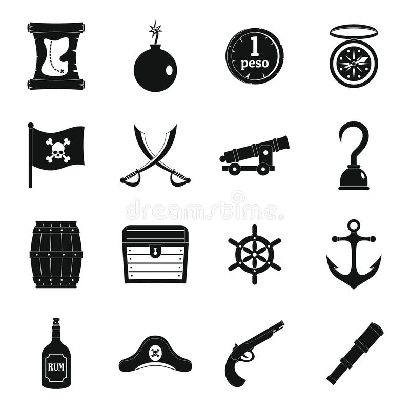 Iconos fijados, estilo simple del pirata libre illustration