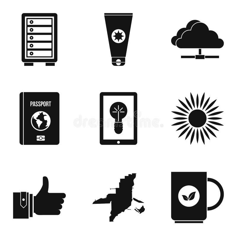 Iconos fijados, estilo simple del portero stock de ilustración
