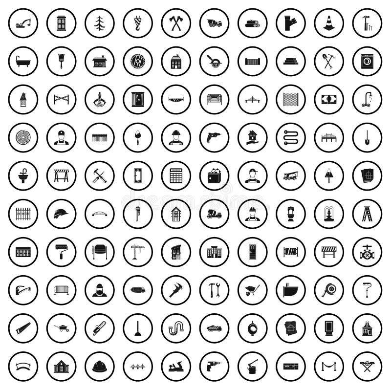100 iconos fijados, estilo simple del trabajador de construcción stock de ilustración