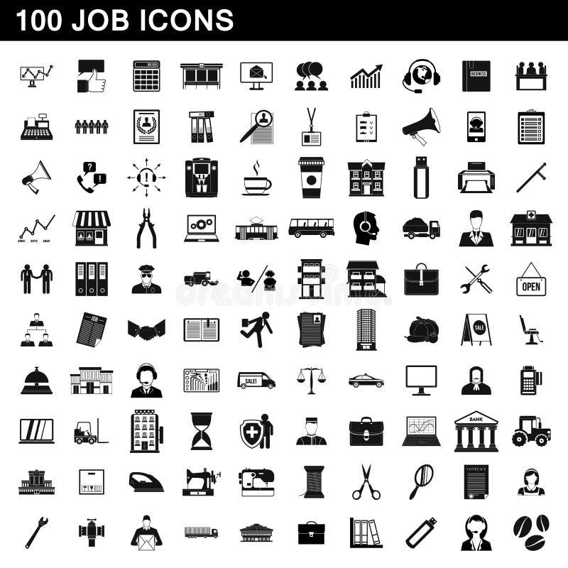 100 iconos fijados, estilo simple del trabajo libre illustration
