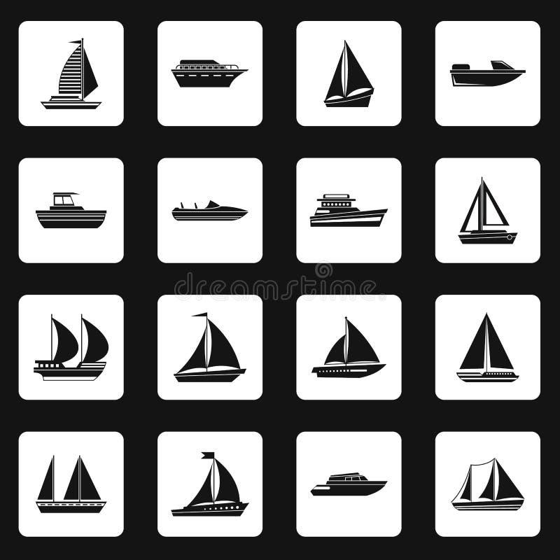 Iconos fijados, estilo simple del velero stock de ilustración