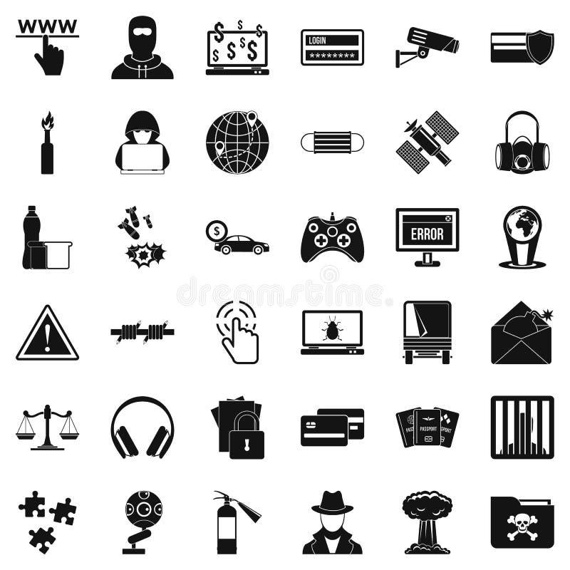 Iconos fijados, estilo simple del virus ilustración del vector