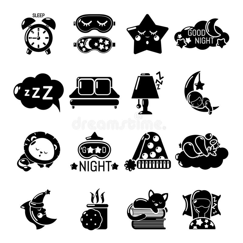 Iconos fijados, estilo simple el dormir ilustración del vector