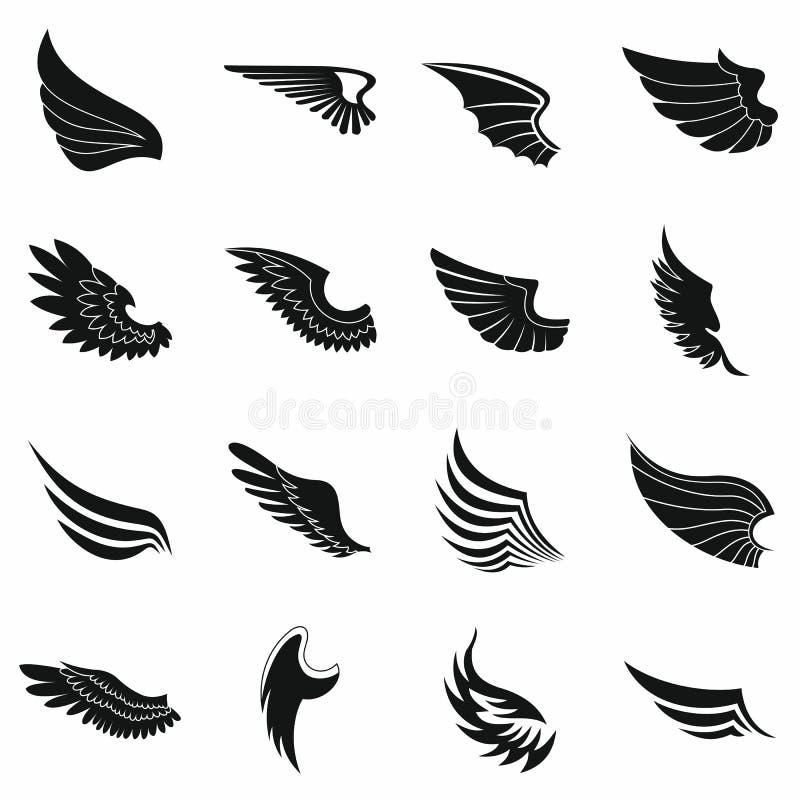 Iconos fijados, estilo simple negro de las alas ilustración del vector