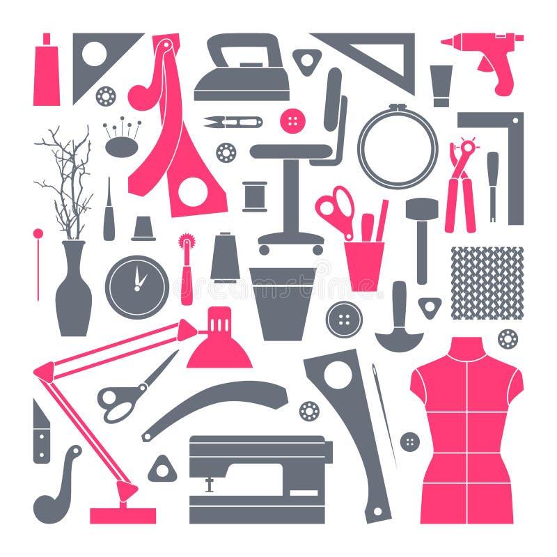 Iconos fijados herramientas de la costura y de la afición stock de ilustración