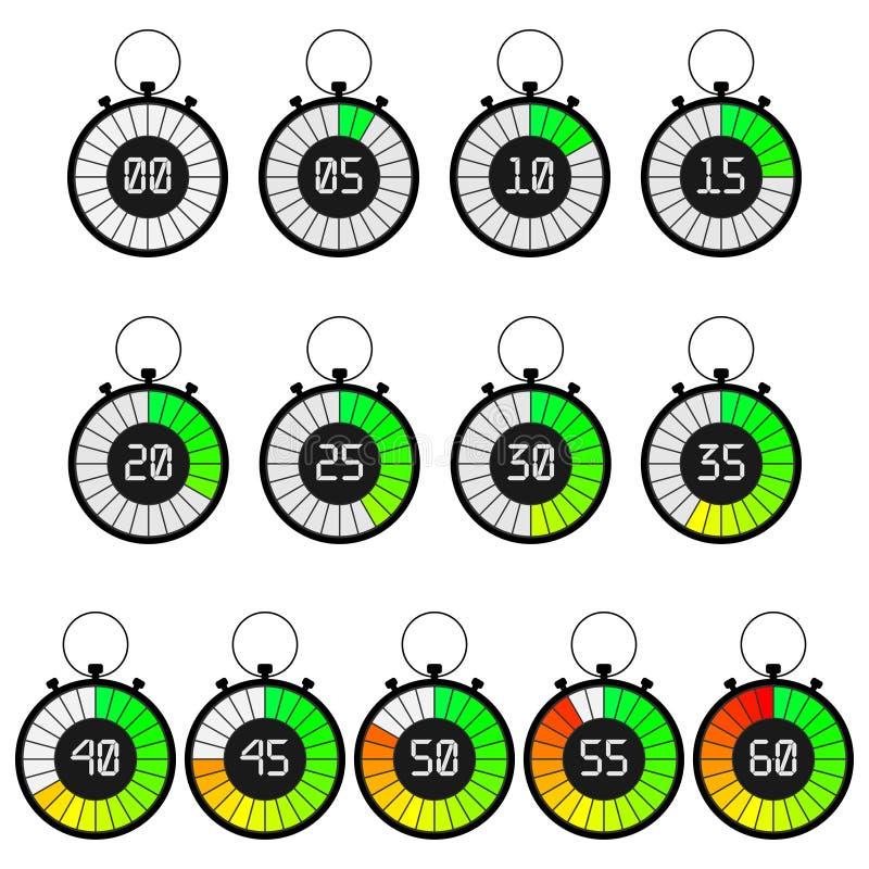 Iconos fijados, icono del cronómetro del contador de tiempo libre illustration