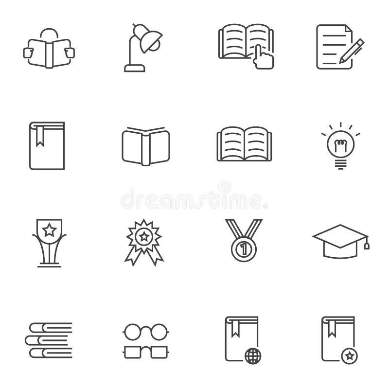 Iconos fijados, línea icono de la educación libre illustration
