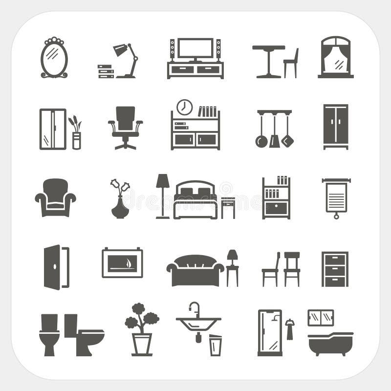 Iconos fijados, objetos interiores caseros de los muebles stock de ilustración